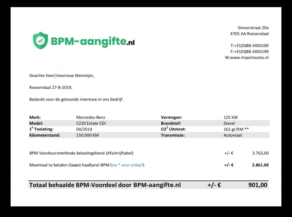 Voordeel BPM aangifte voorbeeld